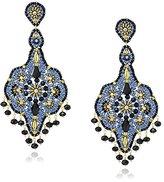 Miguel Ases Black Quartz and Swarovski Grand Dangle Earrings