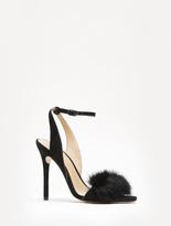 Halston Sheila Suede High Heel Sandal With Fur