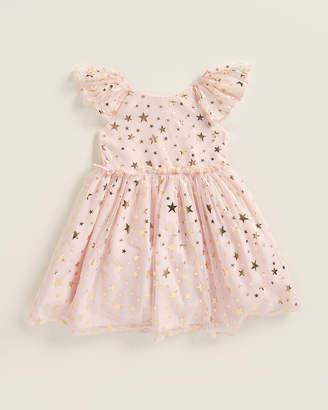 Pippa & Julie Toddler Girls) Pink & Gold Flutter Sleeve Star Print Dress