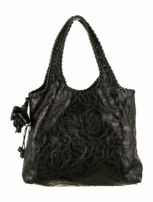 Anthony Luciano Leather Embossed Tote Black