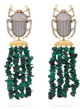 BEGÜM KHAN Pharoah Gold-plated & Malachite Clip Earrings - Green