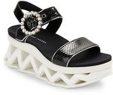Marc Jacobs Ninja Wave Snake-Embossed Leather Platform Wedge Sandals