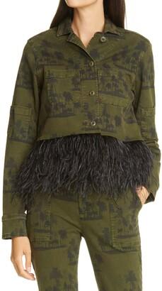 le superbe Freebird Palm Print Feather Hem Army Jacket