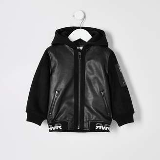 River Island Mini boys Black faux leather bomber jacket