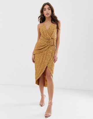 Asos Design DESIGN all over sequin drape midi dress with horn buckle-Brown