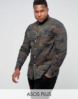 Asos PLUS Skinny Denim Shirt In Camo Print