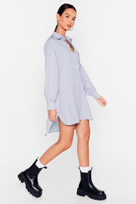 Nasty Gal Womens Where Grid You Go Oversized Shirt Dress - Baby Blue