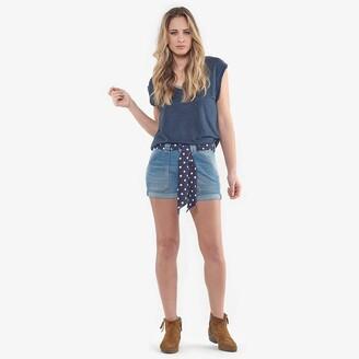 Le Temps Des Cerises Denim Shorts with Polka Dot Tie Belt