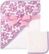 Luvable Friends Lilac Brocade Hooded Towel & Washcloth