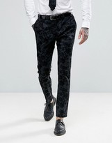 Noose & Monkey Super Skinny Tuxedo Trousers In Flocked Floral With Stretch
