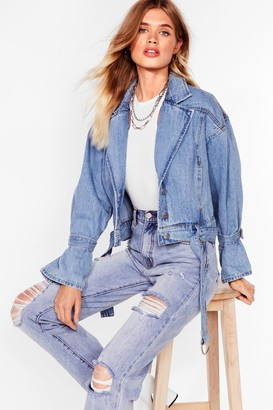 Nasty Gal Womens Tie Need You Now Denim Belted Jacket - Light Blue