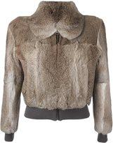 J.W.Anderson elastic waistband cropped jacket - women - Rabbit Fur - 8