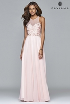 Faviana s7997 Long chiffon fit and flare with applique top