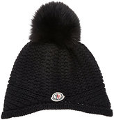 Moncler FUR-EMBELLISHED MIXED-STITCH HAT