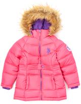 U.S. Polo Assn. Fuchsia Hooded Puffer Coat - Girls