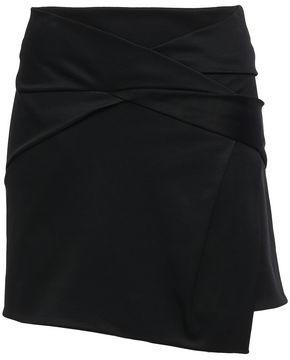 Helmut Lang Asymmetric Wrap-effect Ponte Skirt