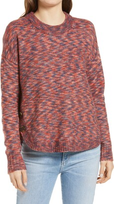 Madewell Space Dye Side Button Crewneck Sweater