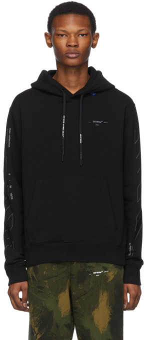 Off-White Off White Black and Silver Diag Unfinished Slim Hoodie