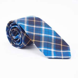 Blade + Blue Navy, Royal Blue & Orange Plaid Tie