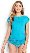 Lands' End Women's Cap Sleeve Swim Tunic Rash Guard-White/Electric Blue Palms