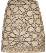 River Island Womens Beige linen embellished mini skirt