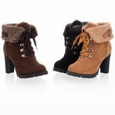 Caddy Wolfclaw Women Fashion Suede Winter Fur Lace Up High Heel Ankle Boots Round Toe Buckle Unfold Ankle High Martin Snow Boots