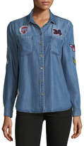 Velvet Heart Patchwork Chambray Button-Front Blouse
