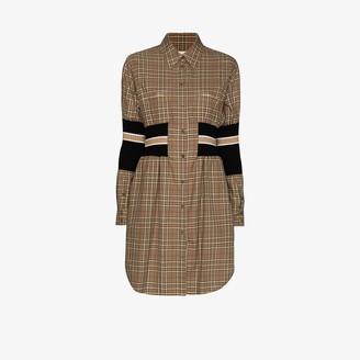 Burberry Rib Knit-Panel Check Shirt Dress