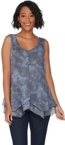 Halston H By H by Printed Chiffon V-Neck Top W/ Handkerchief Hem
