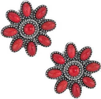 American West Sterling Red Coral Cluster ButtonEarrings