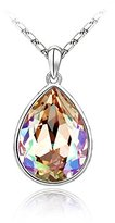 "Miki&Co Silver Swarovski Elements Women's Crystal Drop Teardrop Pendant Necklace , 17.7"", with a Gift Box"