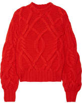 Ulla Johnson Pilar Cable-knit Wool Sweater - Crimson