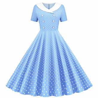 IMEKIS Women 1950s Polka Dot Dress Short Sleeve Cocktail Tea Party Dress A Line Rockabilly Pleated Skirt Vintage Swing Prom Ball Gown Sky Blue 2XL
