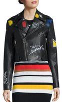 Alice + Olivia X Basquiat Cody Embroidered Leather Moto Jacket