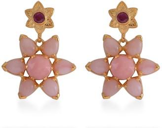 Emma Chapman Jewels Starburst Pink Opal Ruby Earrings