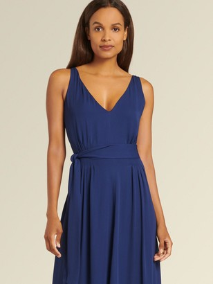 DKNY Donna Karan Women's Sleeveless V-neck Dress - Navy - Size 14