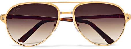 Cartier Eyewear Santos De Aviator-Style Leather-Trimmed Gold-Plated Sunglasses