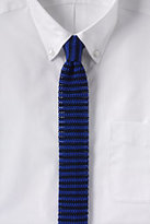 Classic Men's Long Silk Knit Stripe Necktie-Sail Blue Stripe