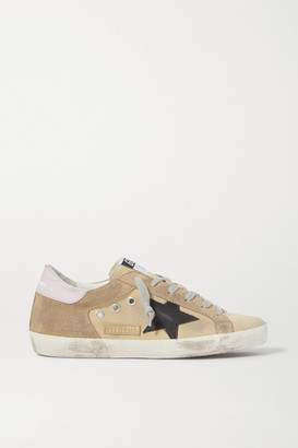 Golden Goose Superstar Distressed Canvas And Suede Sneakers - Sand