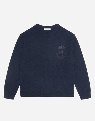Dolce & Gabbana Crew Neck Cashmere Sweater With Heritage Embroidery