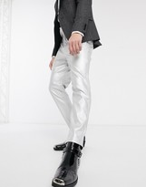 Asos Design DESIGN tapered trousers in faux leather in silver