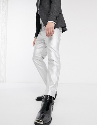 ASOS DESIGN tapered trousers in faux leather in silver
