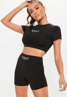 Missguided Active Black Short Sleeve Crop Top