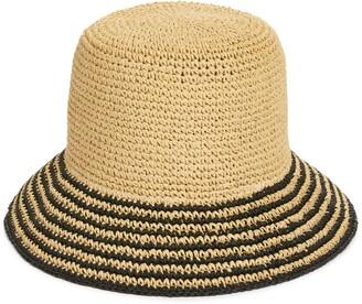 Nordstrom Stripe Brim Straw Bucket Hat
