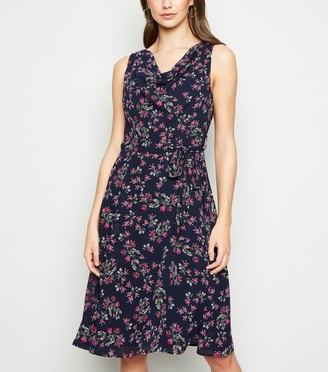 New Look Mela Rose Print Cowl Neck Dress