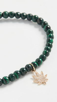 Sydney Evan Small Pave Pot Leaf Charm Bracelet