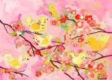 Oopsy Daisy Fine Art For Kids Cherry Blossom Birdies Pink and Yellow by Winborg Sisters Canvas Wall Art, 14 by 10-Inch
