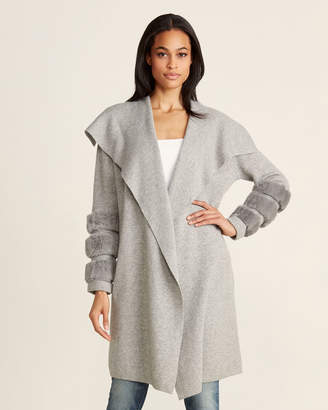 Ply Cashmere Flannel Grey Real Fur Trim Cashmere Cardigan