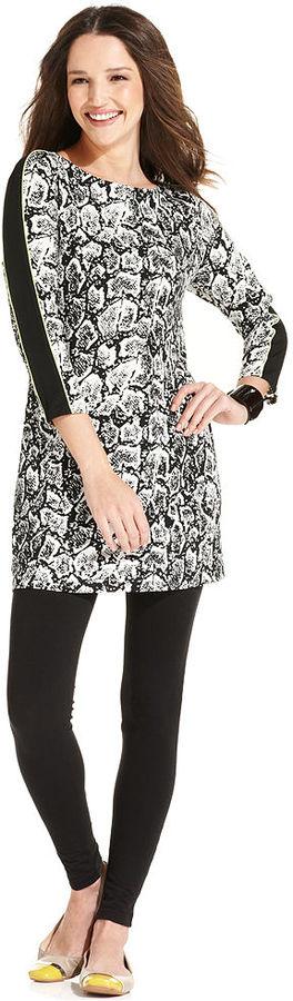 Style&Co. Petite Top, Three-Quarter-Sleeve Snakeskin-Print Tunic