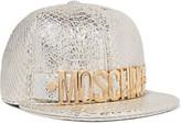 Moschino Embellished metallic python-effect leather cap